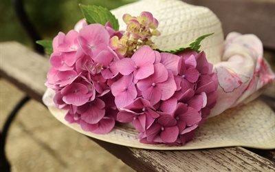 доски, шляпа, цветы, гортензия