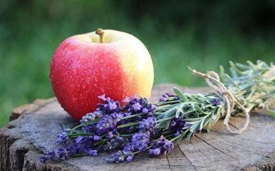 натюрморт, пень, фрукт, яблоко, цветы, лаванда