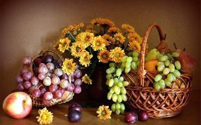 корзины, фрукты, ягоды, виноград, сливы, груши, персик, цветы