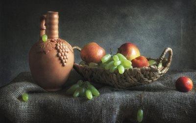 натюрморт, ткань, мешковина, корзинка, фрукты, ягоды, яблоки, виноград, кувшин