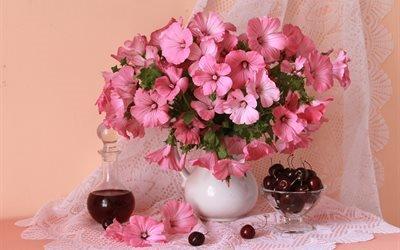 натюрморт, тюль, кувшин, цветы, лаватера, вазочка, ягоды, черешня, графин, напиток