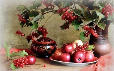 натюрморт, ваза, ветки, калина, ягоды, тарелка, фрукты, яблоки