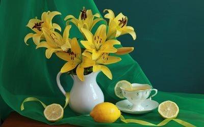 натюрморт, занавеска, кувшин, цветы, фрукты, лимон, чай, лилии, чашка, лента