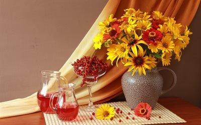 натюрморт, занавеска, салфетка, кувшины, бокал, ягоды, смородина, сок, букет, цветы, цинния, рудбекия