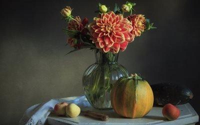 натюрморт, столик, ваза, цветы, георгины, фрукты, яблоки, овощи, кабачок, тыква, нож, салфетка