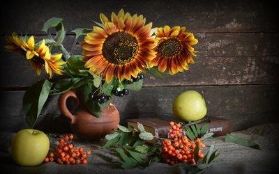 доски, стена, натюрморт, ткань, мешковина, кувшин, цветы, подсолнухи, ягоды, рябина, грозди, фрукты, яблоки, книга