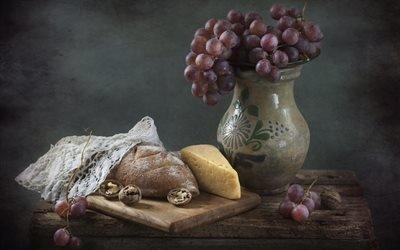 натюрморт, столик, доска, хлеб, кувшин, ягоды, виноград, салфетка, орехи