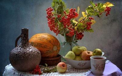 натюрморт, столик, салфетка, чашка, напиток, кувшин, миска, фрукты, яблоки, дыня, ваза, ветки, рябина, ягоды, цветок