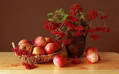 натюрморт, стол, корзина, фрукты, яблоки, кувшин, ветки, калина, ягоды