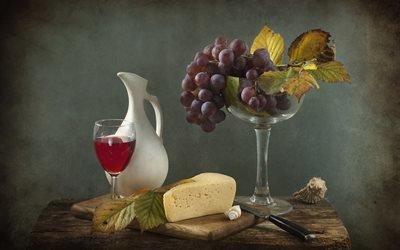 натюрморт, столик, доска, сыр, нож, кувшин, бокал, вино, ракушки, листья, ягоды, виноград