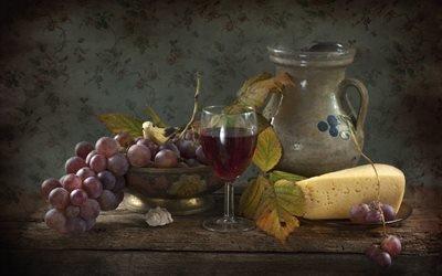 натюрморт, столик, тарелка, сыр, ваза, ягоды, виноград, кувшин, бокал, вино, листья, птичка