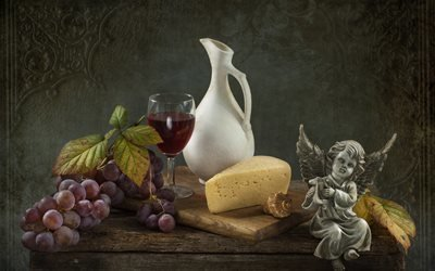 натюрморт, столик, доска, ягоды, виноград, гроздь, сыр, кувшин, бокал, вино, листья, ракушка, фигурка, ангел