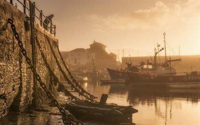Рассвет, Причал, Рыбацкие лодки, Корнуолл, Британия