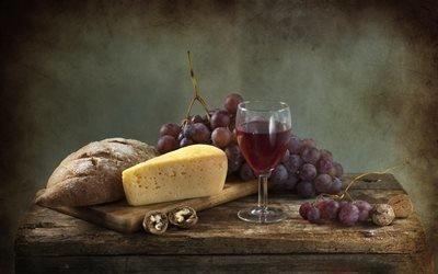натюрморт, столик, доска, хлеб, сыр, ягоды, виноград, орехи, бокал, вино