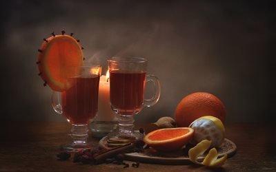 доска, бокалы, напиток, специи, корица, гвоздика, шиповник, плоды, ягоды, имбирь, фрукты, цитрусовые, апельсин, долька, лимон, свеча