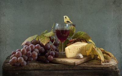 натюрморт, столик, бокал, вино, виноград, ягоды, листья, птичка