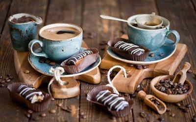 Шоколадные эклеры, Кофейные зерна, Чашки