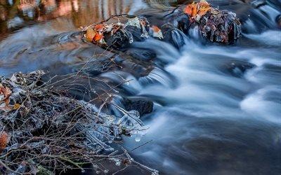 природа, осень, река, порог, течение, ветки, листья, лёд, сосульки