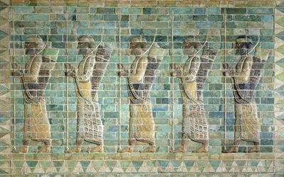 Фриз лучников из дворца Дария Великого, Лувр, Текстуры