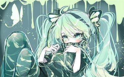 Мику Хацунэ, слезы, плачущая девочка, манга, Вокалоид