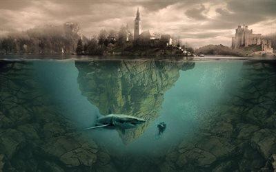 Бледское озеро, остров, акула, подводный мир, креатив, Словения