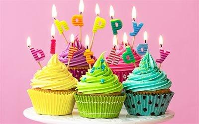 С Днем Рождения, праздничные кексы, пирожные, поздравление, открытка, День Рождения, свечи