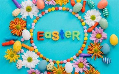Пасхальные яйца, декорация, весна, 2018, синий фон, Пасха, Великодні яйця, декорація, синій фон