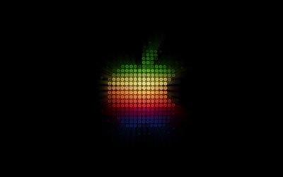 Логотип Эпл, мозаика, черный фон, креатив, Эпл