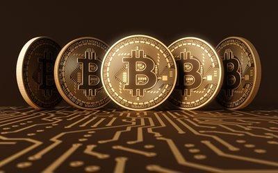 биткоин, золотые монеты, bitcoin, современная криптовалюта