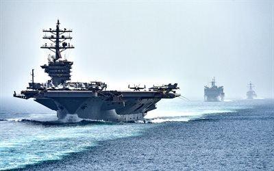 американский авианосец, Дуайт Дэвид Эйзенхауэр, ВМС США, USS Dwight D Eisenhower, CVN-69, Нимиц, американский военный флот, атомные авианосцы, корабли поддержки