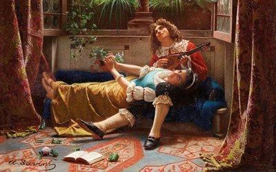 Альфонсо Савини, Alfonso Savini, итальянский художник, Серенада, A Serenade
