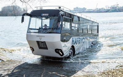 река Эльба, Гамбург, экскурсионный автобус-амфибия, Hafencity Riverbus