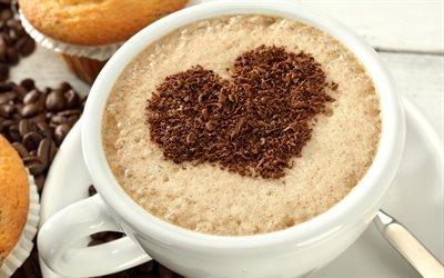 Латте-арт, чашка кофе, сердечко, рисунки на кофе, сердце