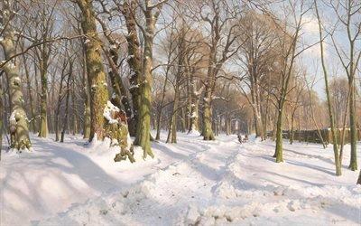 Петер Мерк Менстед, Peder Mork Monsted, датский художник, 1908, Солнечный свет на заснеженной лесной дороге, Verschneiter Waldweg bei Sonnenlicht