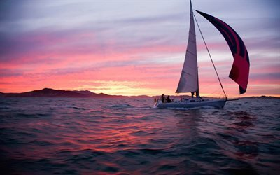 закат, яхта