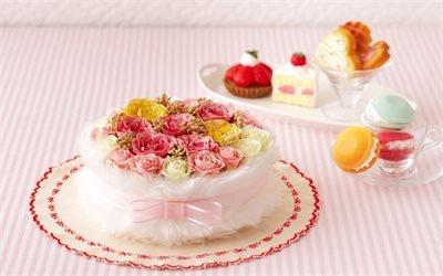 Свадеба, торт, роза, Весілля, троянди