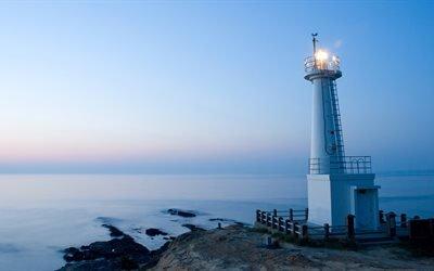 море, маяк, свет, штиль