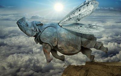 Рассвет, Горы, Облака, Крылатый носорог