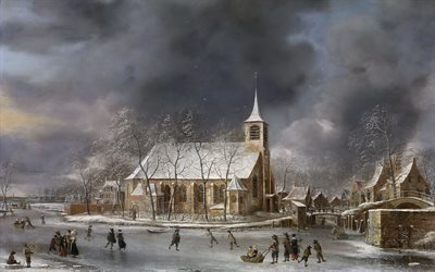 Ян Авраам ван Беерстратен, Jan Abrahamsz van Beerstraten, голландский художник, Вид на церковь в Слотене зимой, 1662, Музей Пола Гетти, Лос-Анджелес, холст, масло