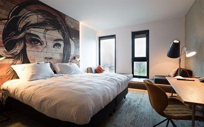 Интерьер спальни в стиле модерн, крлвать, столик, стул