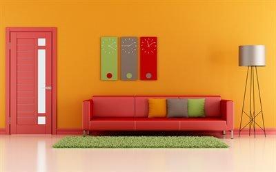Интерьер гостиной в современном стиле, красный диван, подушки, торшер