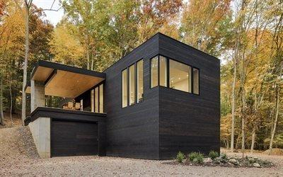 Деревянный котедж в современном стиле, лес в долине Гудзона, штат Нью-Йорк