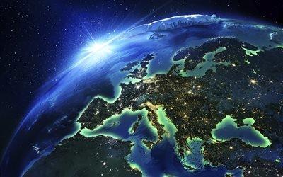 Европа, космос, континент, Европа с космоса