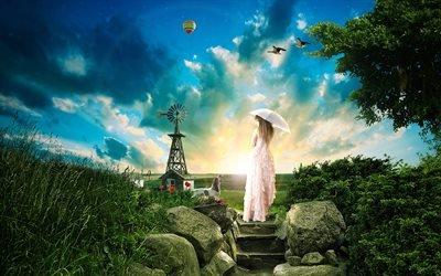 3d, графика, поля, ветряк, камни, ступеньки, девушка, зонт, трава, шар, птицы