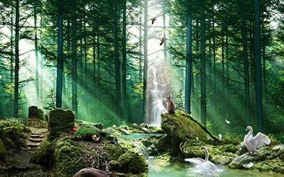 3d, графика, лес, природа, деревья, сосны, заяц, лебеди, птицы, ручей, мох, камни