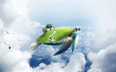 3d, графика, небо, облака, черепаха, дом, человек, птицы