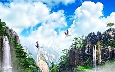 3d, графика, природа, горы, лес, водопады, небо, облака, птицы, журавли