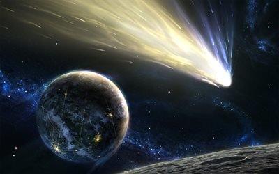 комета, планеты, туманность, звезды, галактика