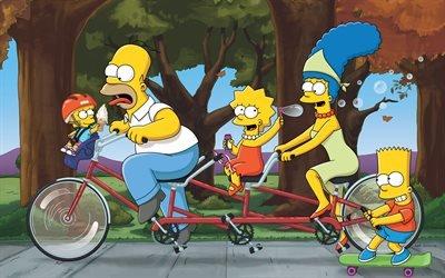 Симпсоны, Гомер, Лиза, Барт, Мардж, 4к, The Simpsons