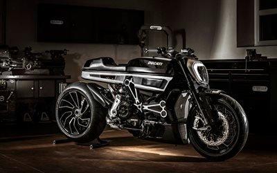 Дукати Диавель, 2017, роскошный черный мотоцикл, круизер, Ducati XDiavel, итальянские мотоциклы, гараж